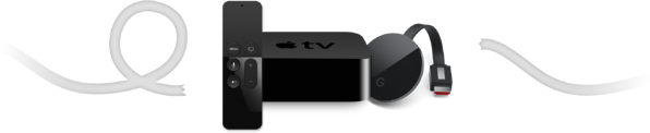 Cables, Apple TV and Chromecast