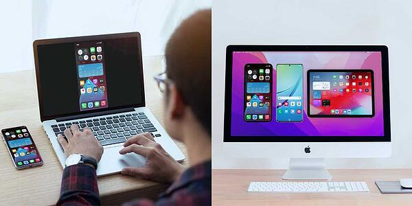 AirPlay to Mac and Reflector screen mirroring side-by-side view