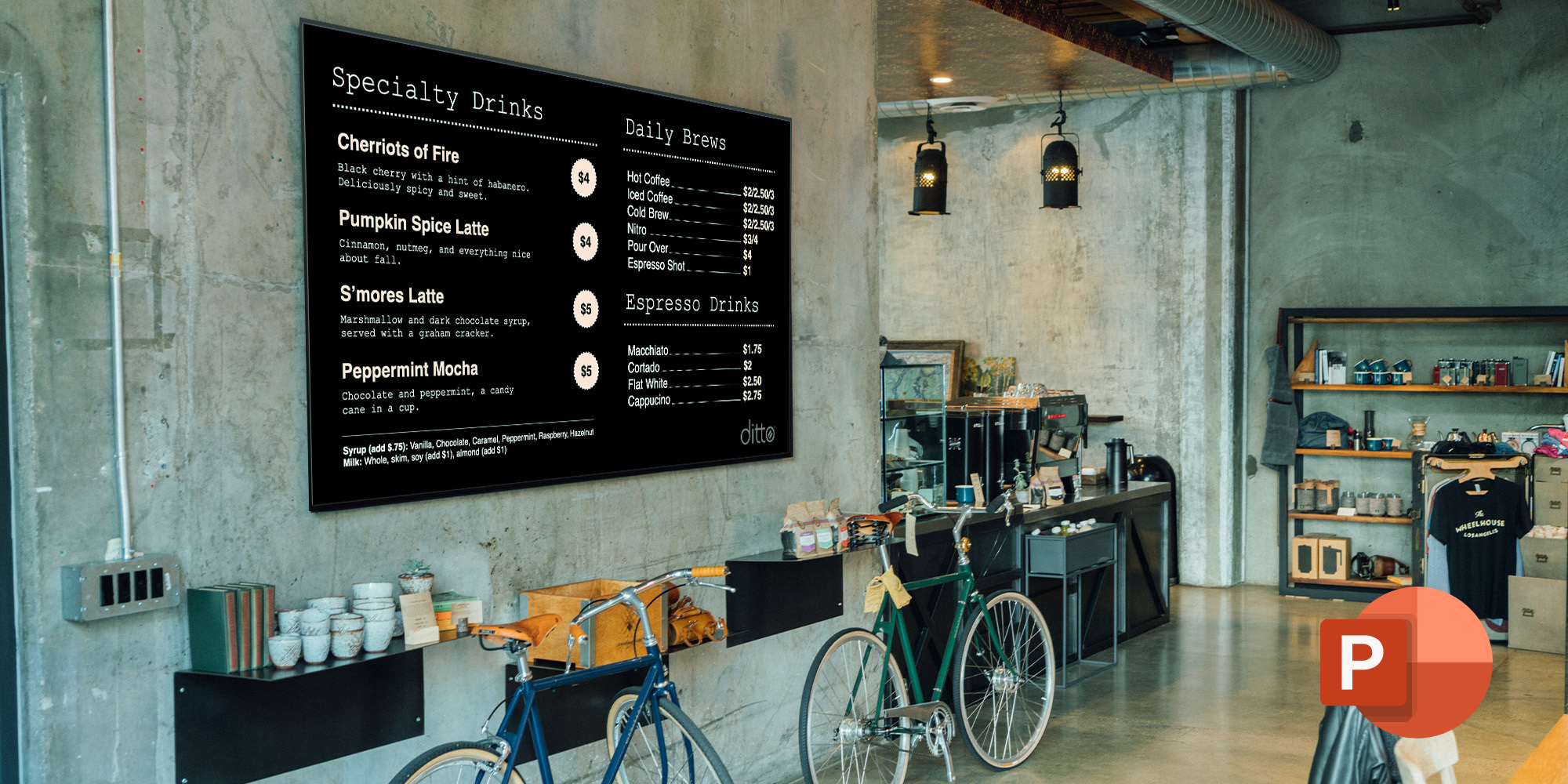 Digital menu boards from Microsoft PowerPoint
